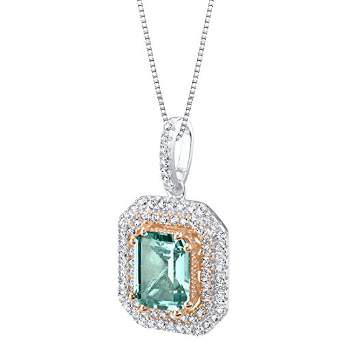 - Simulated Paraiba Tourmaline Two-Tone Sterling Silver Octagon Pendant Necklace