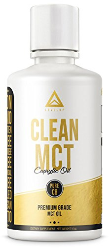 Clean MCT Oil: 100% Pure C8 Caprylic Acid Triglycerides | Best Ketogenic Diet Supplement | The Perfect Keto Coffee Fat for Ketones | Brain and Body Octane | by LevelUp® (16oz)