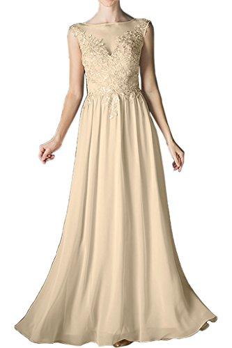 onore di abito a vestito Chiffon linea collo Champagne ressing damigella rotondo da sera d' lungo da pizzo Damen Prom abito Dress popolare ivyd xwnUX6P