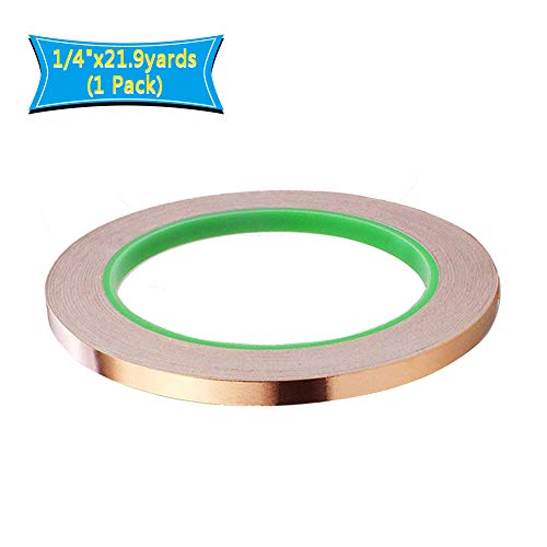 "Copper Foil Tape,Copper Tape Double-Sided Conductive Adhesive for EMI Shielding,Slug Repellent,Paper Circuits,Electrical Repairs,Grounding(1/4""x21.9yards)"