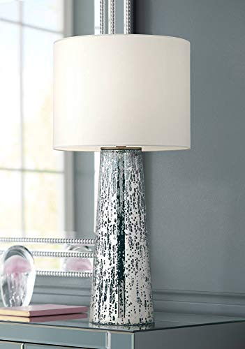 Marcus Modern Table Lamp Mercury Glass Column Shape White Drum Shade for Living Room Family Bedroom Bedside ()