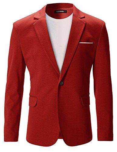 - FLATSEVEN Mens Slim Fit Casual Premium Blazer Jacket (BJ102) Red, XS