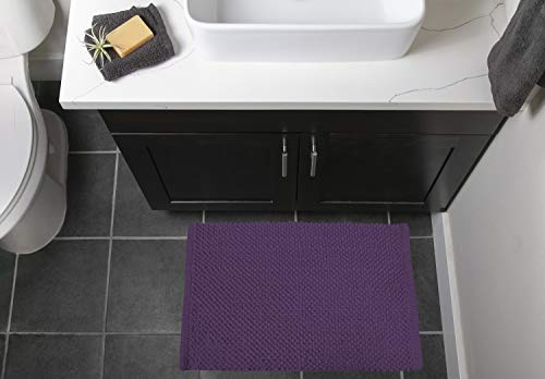 """DII Ultra Soft Plush Spa Cotton Pebble Absorbent Chenille Bath Mat Place in Front of Shower, Vanity, Bath Tub, Sink, and Toilet, 17 x 24"""" - Eggplant"""
