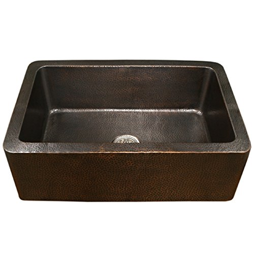 Houzer HW-COP11 Hammerwerks Series Apron Front Farmhouse Copper Single Bowl Kitchen Sink, Antique Copper