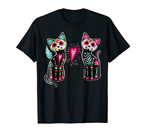 Day of Dead Sugar Cats Skeleton Skull Tshirt -