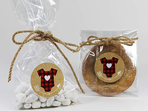 Woodland Lumberjack Baby Shower Treat Party Favor Bag Set with Buffalo Plaid Stickers & Natural Twine Tie. Set of 10 Gender Neutral Cellophane Goodie Gift Bag Sets. Red, Black, White, Kraft Brown