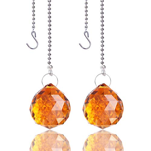 - H&D Amber 30mm Crystal Glass Ball Prism Pull Chain Extension Connector Ceiling Light Fan Chain,pack of 2