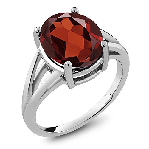 Garnet Solitaire (5.60 Ct Oval Red Garnet 925 Sterling Silver Women's Solitaire Ring (12X10MM Oval, Available in size 5, 6, 7, 8, 9))