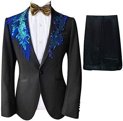 S~5XL 演出服 ステージ衣装 メンズ 舞台 スーツ メンス ビジネススーツ セットアップ 一つボタン スリム 紳士礼服 ビジネス カジュアル 着心地抜群 パーティー 演奏会 フォーマル 結婚式 就職スーツ 司会者 (ブルー, 5XL)