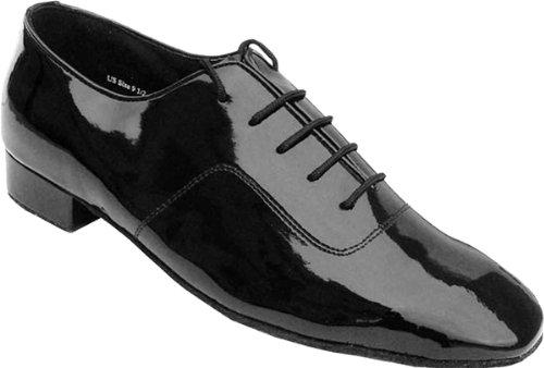 """Sehr feine Männer Salsa Ballroom Tango Latin Dance Schuhe 917101 Bundle mit Dance Schuh Drahtbürste Ferse 1 """" Schwarzes Patent"""