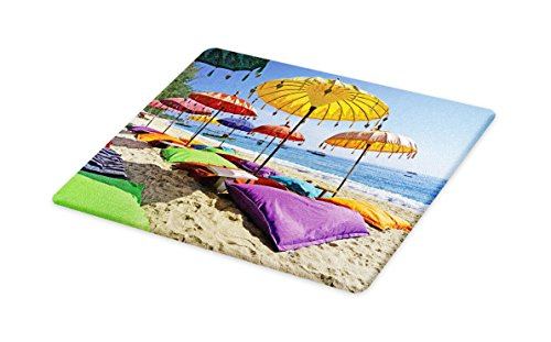 - Lunarable Balinese Cutting Board, Pristine Beach Bathed by the Bali Sandy Seashore Daytime Umbrellas Pillows Leisure, Decorative Tempered Glass Cutting and Serving Board, Large Size, Multicolor