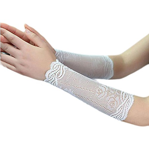 George Jimmy Lace Outdoor Sunscreen Clothing Women Wristbands Breathable Sun Protective Sleeves 22 CM-White by George Jimmy