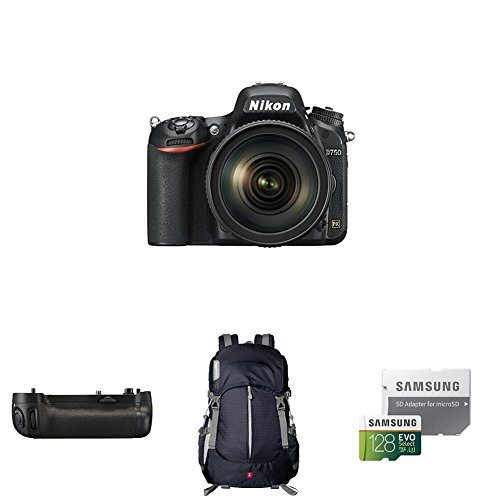 Nikon D750 FX-format Digital SLR Camera w/ 24-120mm Lens Deluxe Battery Grip Bundle