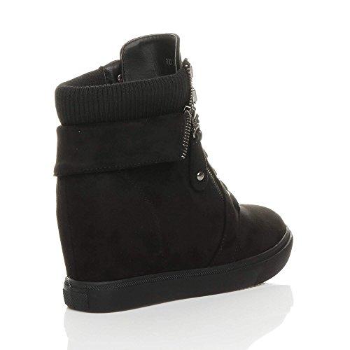 schuhe sneaker Damen größe Schwarz mittlerer verborgen stiefeletten kragen keilabsatz Wildleder qxq1XUwIP