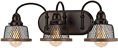 "Luxury Vintage Bathroom Vanity Light, Medium Size: 8.375""H x 23.375""W, with Industrial Chic Style Elements, Olde Bronze Finish, UHP2723 from The Eugene Collection by Urban Ambiance"