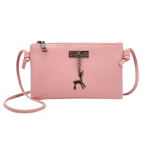 Clearance Sale! ZOMUSAR Women Fashion PU Leather Zipper Small Deer Splice Handbag Shoulder Shell Bag Shiny Crossbody Tote Bag (Pink ) -
