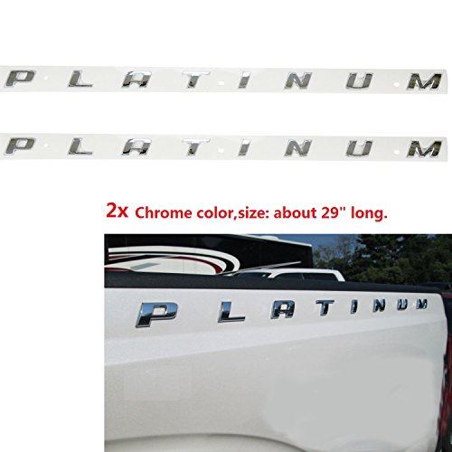 2x OEM Chrome PLATINUM Emblem Side Badge Nameplate 3D Replacement for F150 F250 F350 Platinum Glossy