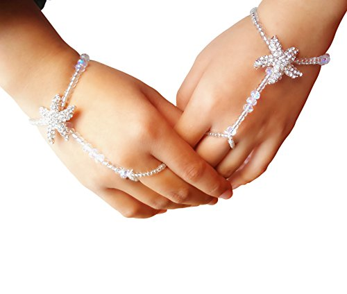 (Fine Lady Bridal Hand Jewelry Crystal Hand Bracelet Starfish Hand Chain-Stretchable)