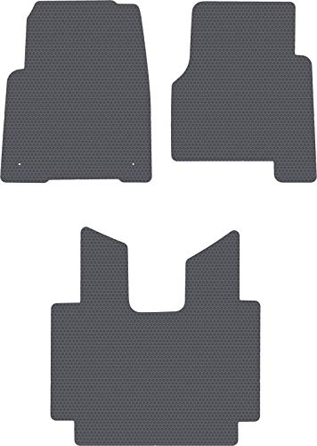 Freightliner Cascadia Truck w/Manual Stick Shift - Dark Gray Rubbertite All-Weather Floor Mats by Lloyd's - 3 Piece Full Cab Coverage - Fits 2008-2018