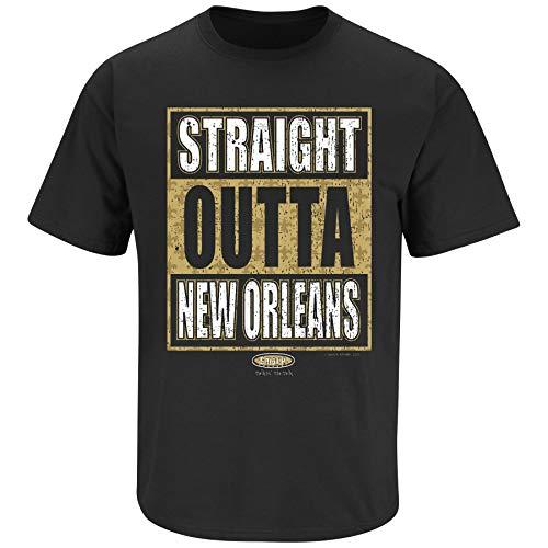 NOLA Football Fans. Straight Outta New Orleans. Black T-Shirt (Sm-5X) (Short Sleeve, Medium)