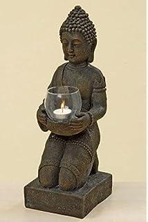 BUDDHA Figur Knieend Mit Windlicht In Den Hnden Ca 44 Cm Hoch Kunstharz Dekoration Feng