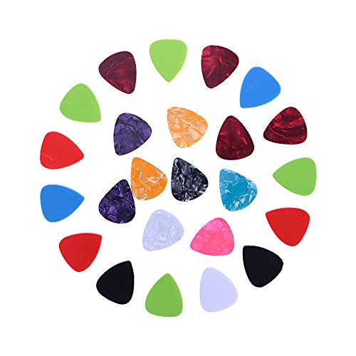 Guitar Picks-24 Pack Stylish Colorful Variety Bass Guitar Picks with 0.46/0.6/0.71/0.73mm(Thin Medium Heavy) Different Size for Guitar/Bass - Abs Classic Guitar Case