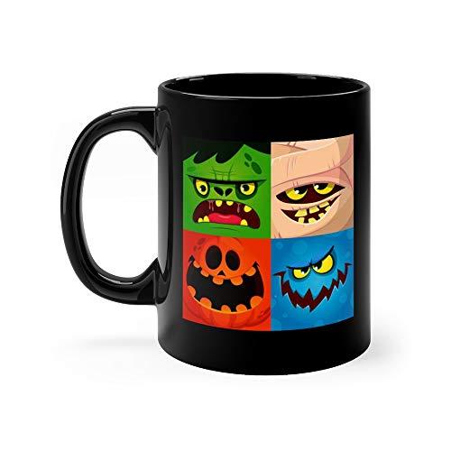 Cartoon Monster Faces Set Cute Square Avatars And Icons Pumpkin Face Mummy Zombie Coffee Mug 11 Oz Ceramic]()