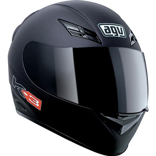 AGV K3 Full Face Motorcycle Helmet (Matte Black, Small)