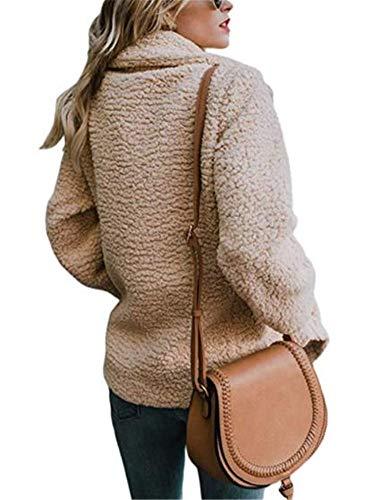 Fleece Fuzzy Kaki Outwear Poches Cardigan Hiver Ibelive Femmes Automne Front Manteau Ouvert avec Veste vqxtZAInO