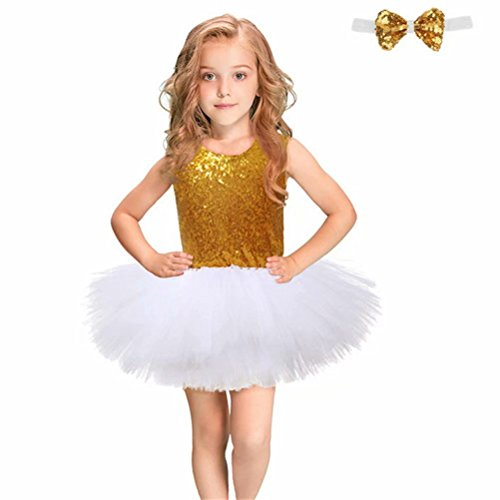 Baby Girls Sequin Princess Dress Sleeveless Tutu Tulle Special Occassion Dresses with Headband/Bow Tie -