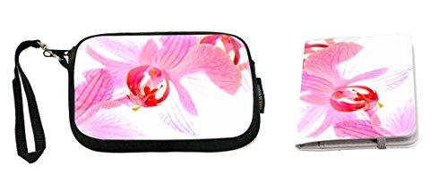 Rikki Knight Pink Orchid Design Neoprene Clutch Wristlet with Matching Passport Holder (Orchid Wristlet Pink)