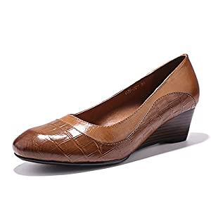 Mona Flying Women's Leather Wedges Shoes for Women Office Med Heels Round Toe Vintage Dress Pump Shoes