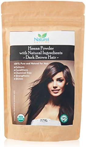 Organic (USDA, GMP) Henna for Dark Brown/Black/Reddish brown Colour Hair, healthier, softer hair (Recipe provided) for temp tattoos and eyebrows, ...