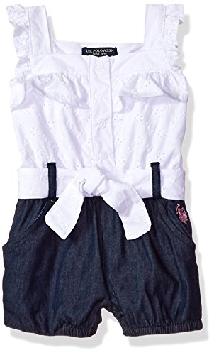 (U.S. Polo Assn. Baby Girls Romper, Ruffle Front Solid poplin White 3-6 Months)