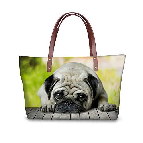 Showudesigns Pugs Dogs Design Handbag Bookbag for Women Famous Luxury Brand Black Pug Dog