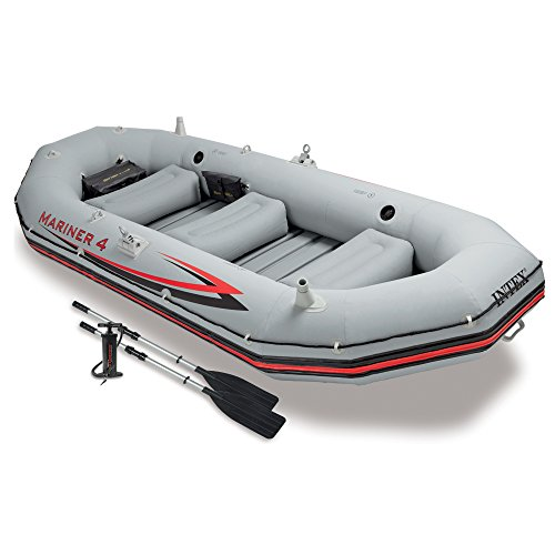Intex Mariner 4, 4-Person Inflatable Boat Set with Aluminum Oars and High Output Air Pump (Latest - Dinghy Inflatable