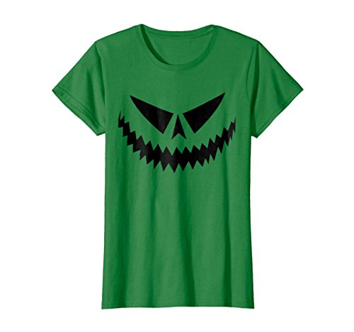 Womens Scary Face Official Jack-O-Lantern Shirt, Halloween Costume! Large Kelly Green -