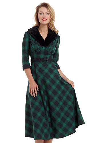 Voodoo Vixen Retro Vintage Lola Plaid Faux Fur Collar 3/4 Sleeve Swing Dress (Medium, Emerald Green) (Lola Sleeveless Skirt)