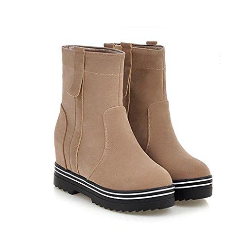 botas la invierno versátil base QX El y cortas femenino minimalista otoño gruesa botas plana botas el aumente y Apricot estudiantes cilindro de color ZQ corto fRpq7Pq