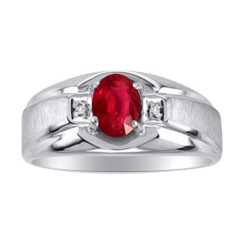 nd Ring Set in Sterling Silver With Satin Finish (Genuine Birthstone Ring)