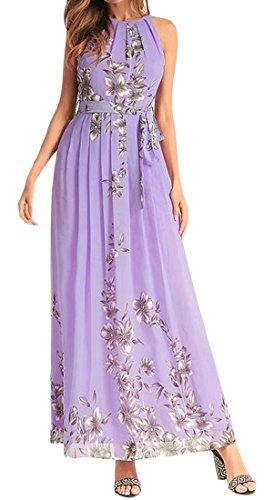 Cromoncent Bracelet Floral Sans Manches Imprimé Été Des Femmes Maxi Robe De Plage Violet