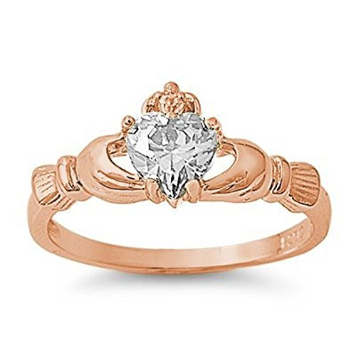 18k-rose Gold Plated .925 Sterling Silver April Clear White Simulated Topaz Irish (Topaz Celtic Claddagh Ring)