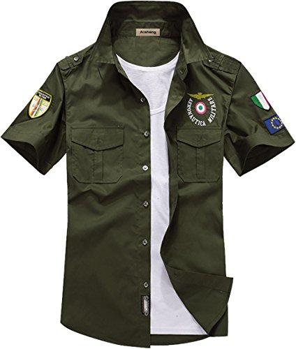 (S&S Mens fashion Cool Pilot Air Force Uniform Short Sleeve Dress Shirt)