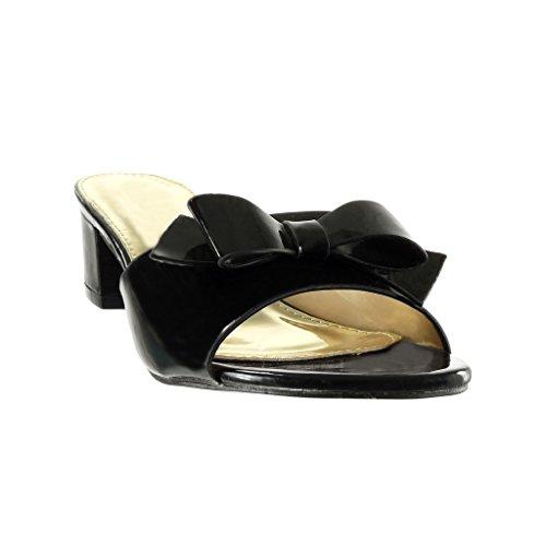 Angkorly - damen Schuhe Sandalen Mule - fliege Blockabsatz high heel 5 CM - Schwarz