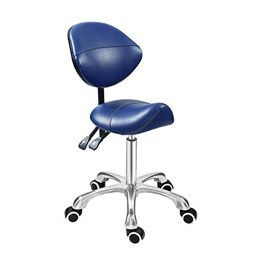 Grace & Grace Professional Saddle Stool Series with Backrest Hydraulic Swivel Comfortable Ergonomic with Heavy Duty Metal Base for Clinic Dentist Spa Massage Salons Studio (Premium Blue)