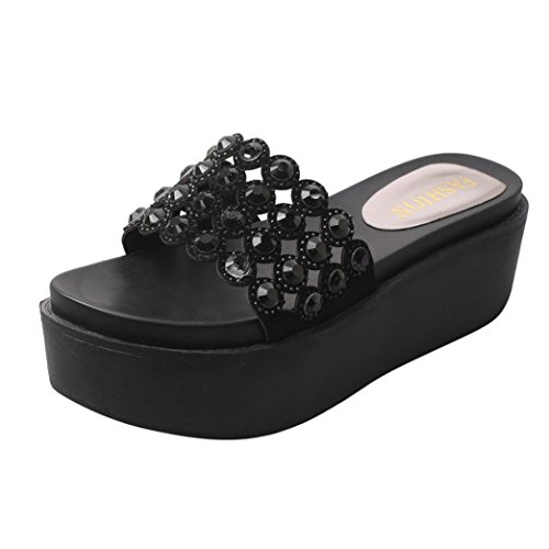 hunpta Women Fashion Solid Color Crystal Thick Bottom Flatform Shoes Sandals Black m5QfzgnT