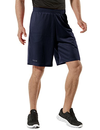 TM-MBS02-NVY_Medium Tesla Men's Cool Mesh Basketball Shorts Smooth HyperDri With Pockets MBS02