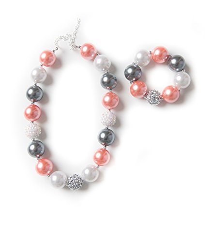 Girls bubblegum necklace and bracelet set (Coral Silver & Grey set)