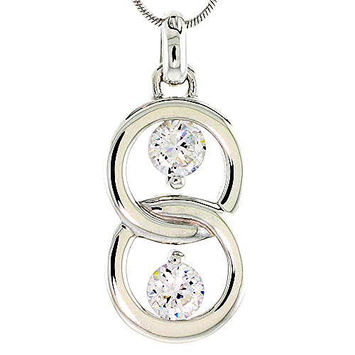 (Sterling Silver Overlapping Circles Pendant w/ 6mm CZ Stones, 1 1/8 inch (29 mm) tall)