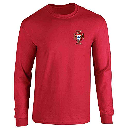 (Portugal Soccer Retro National Team Football Red M Long Sleeve T-Shirt)